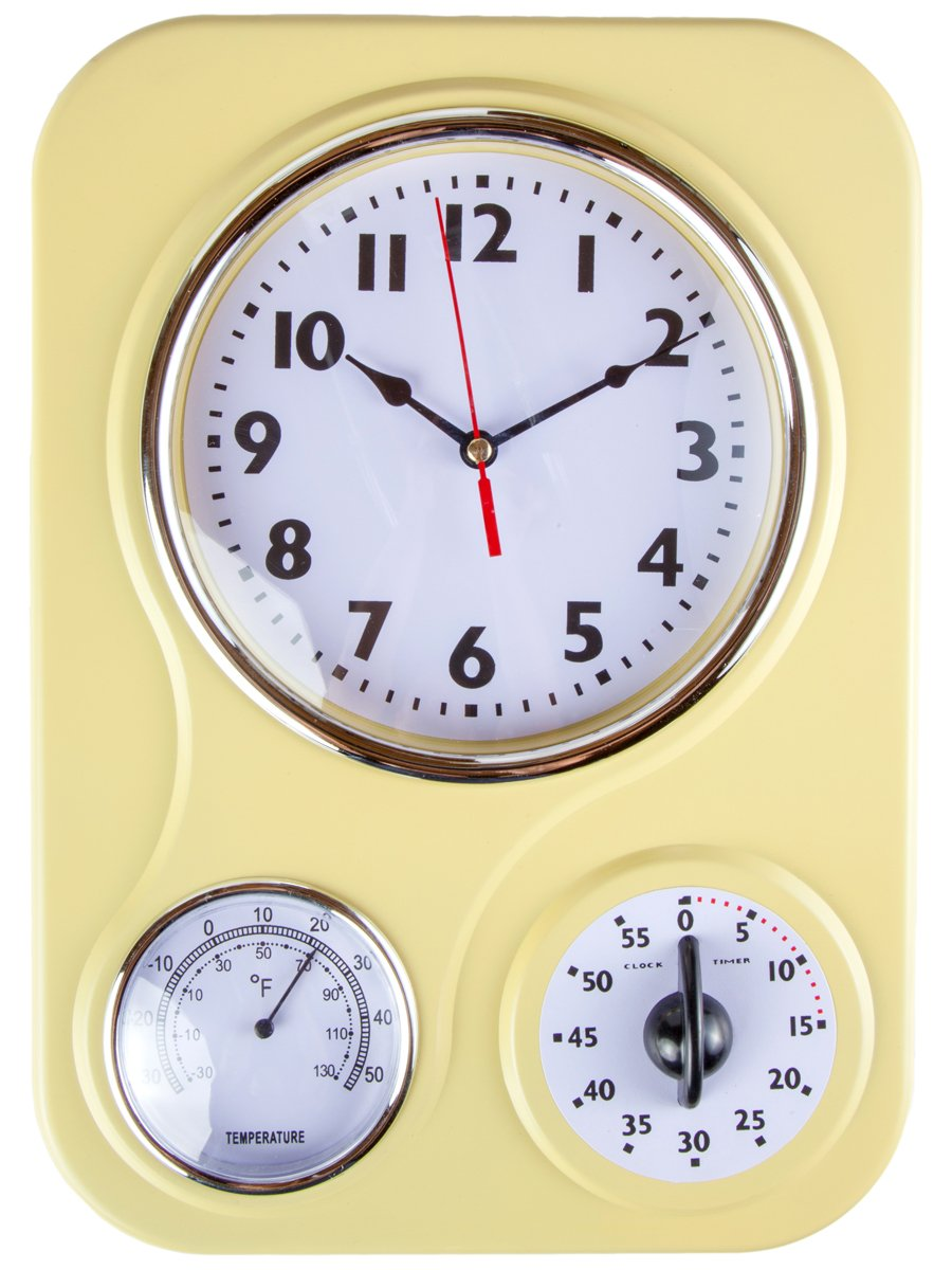 Retro Kitchen Clock With Temperature And Timer By Lily S Home