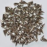 【サイズ・色 選択可】 スタッズ パーツ 鋲 スパイク 100個セット ゴールド/シルバー ベルトや靴のリメイク・製作に (直径7mm×高さ14mm, シルバー(銀色))
