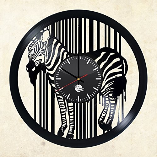 Zebra-Figurine-HANDMADE-Vinyl-Record-Wall-Clock-Get-unique-home-and-office-wall-decor-Gift-ideas-for-boys-girls-and-kids-Wild-Animal-Unique-Art-Leave-us-a-feedback-and-win-your-custom-clock