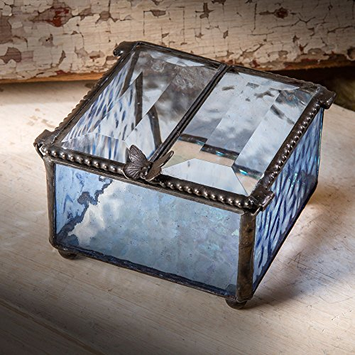 J Devlin Box 185-3 Stained Glass Jewelry Box Keepsake Trinket Display Case Blue 3 x 3 x 1 3/4
