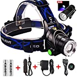 9 LED Flashlight+3 Modes Zoomable 1800 Lm Led Headlamp Comfortable Hands-free Head Light Headlight with 2 Rechargeable 18650 Batteries + Car Charger for Camping Biking Hunting Fishing Outdoor Sports