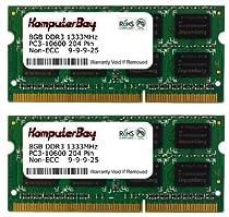 Komputerbay 16GB (2x 8GB) PC3-10600 10666 1333MHz SODIMM 204-Pin Laptop Memory 9-9-9-25