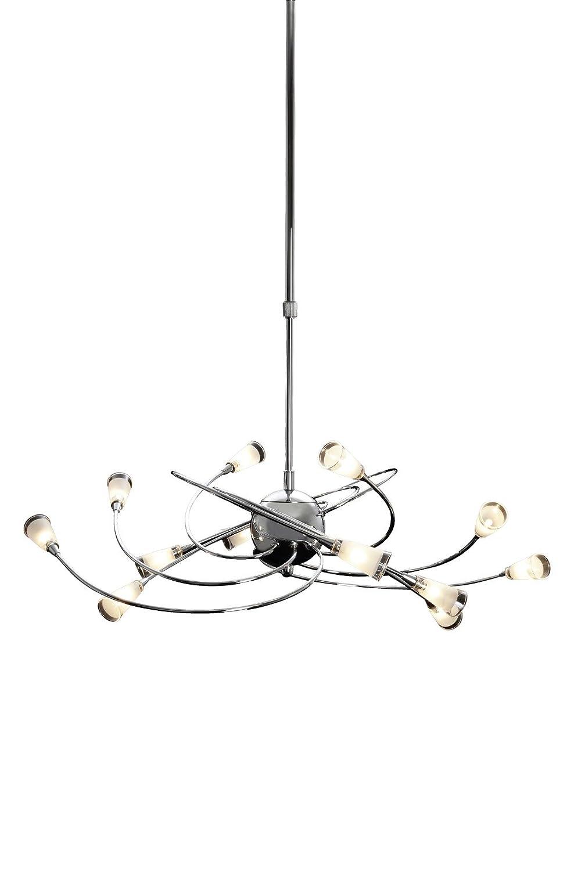 Trio Leuchten Pendelleuchte in Chrom, inklusiv 12x20W G4, höhenverstellbar von 60 cm bis 120 cm, glas weiß satiniert / rand klar 361291206