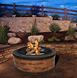 Rustic-Brown-Wood-Burning-Fire-Pit-35-Diameter-Steel-Base-w-26-Mesh-Screen-Spark-Protector-w-Lift-Hook-Large-Heat-Resistant-Fire-Bowl-Appealing-Rustic-Wood-Simulated-Base