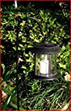 Solar Powered Garden LED Candle Lantern with garden stake and two AA rechargeable NiCd batteries