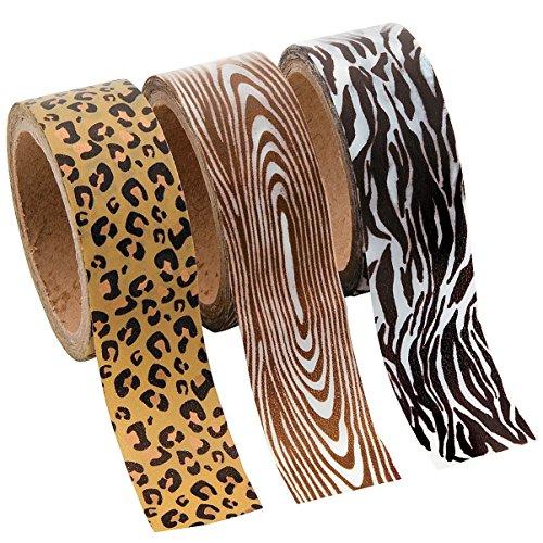 Animal Print Washi Tape Set - 16 Ft. Of Tape Per Roll (3 Rolls Per Unit) - 1