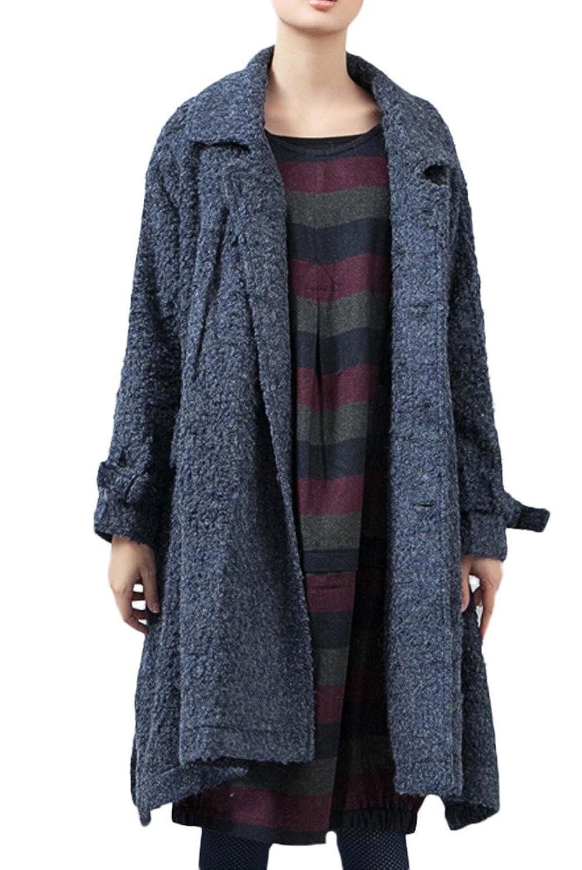 Voguees Frauen-Button-Down-Seiten-Schlitz-Langer Mantel mit Taschen