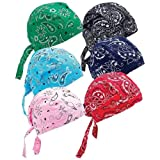 6 Assorted Designs Skull Caps Paisley Bandanna Biker Skull Hat Caps