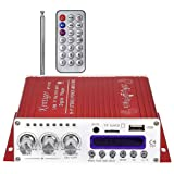 Kentiger V10 Hi-Fi Class-AB Stereo Digital Player Super Bass Bluetooth Amplifier Remote Control Wireless Car Audio Speaker (Color: red, Tamaño: 14*15.5*5cm)