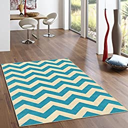 Rubber Backed 2-Piece Rug SET Rich Chevron Light Blue & Ivory Zig Zag Area Non-Slip Rug - Rana Collection Kitchen Dining Living Hallway Bathroom Pet Entry Rugs RAN2066-2PC
