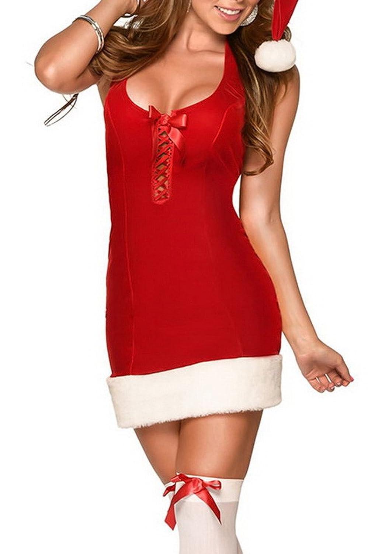 Bigood Sexy Rollenspiel Kostüm Weihnachten Kostüm Kleid Set One-Size Rot jetzt kaufen