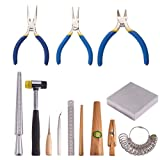 PandaHall Elite 13 Sets Jewelry Tool with Metal Mandrel Finger Sizing Measuring Stick, Ring Sizer Guage, Jewelry Pliers, Jewelers Hammer, Wooden Ring Clamp, Anvil, Awls (Color: 13 Sets, Tamaño: Ring-US sizes of 1~15)