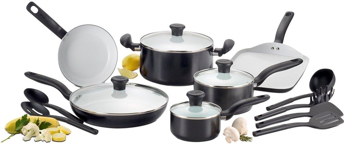 T-fal Initiatives Ceramic Nonstick Cookware Set, 16-Piece, Black