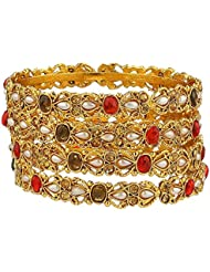 Zeneme Gold Plated Precious Bangles Jewellery For Women / Girls Set Of 4