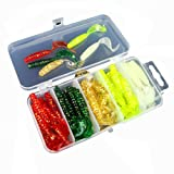 Smartcoco 50pcs/Box 3D Artificial Soft Baits Multicolor Grub Worm Soft Baits Shads Plastic Fishing Tackle