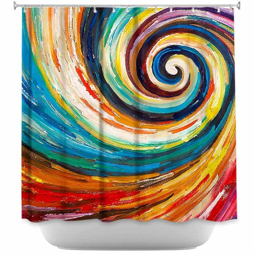 DiaNoche Designs Shower Curtains by Lam Fuk Tim Stylish, Decorative, Unique, Cool, Fun, Funky Bathroom - Spiral II