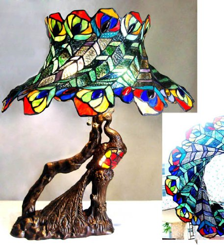 Table  Double Style Peacock Lampshade Feather