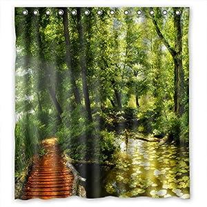 Fantastic green forest custom style bathroom - Forest green shower curtain ...