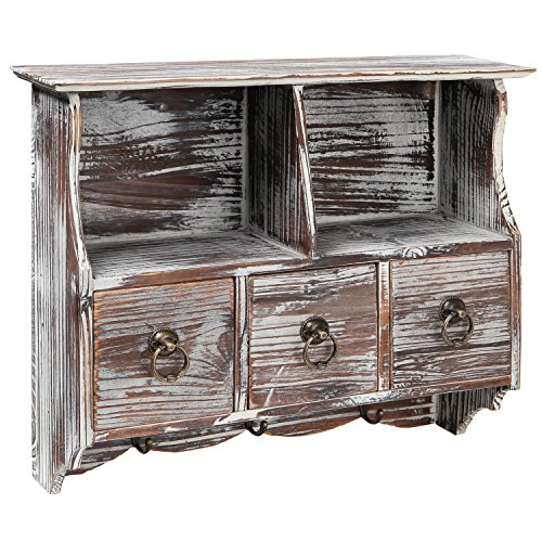 Country Rustic Brown Wood Wall Organizer Shelf Rack / Wall Cabinet w/ Drawers & Metal Hooks - MyGift®