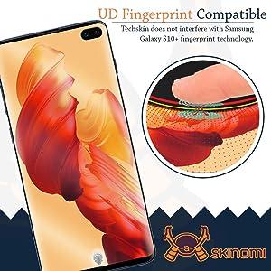 Samsung Galaxy S10 Plus Screen Protector (S10+ 6.4)(Case Compatible)(2-Pack), Skinomi TechSkin Full Coverage Screen Protector for Samsung Galaxy S10 Plus Clear HD Anti-Bubble Film