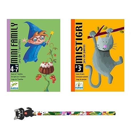 Lot de 2 Jeux DJECO : Mistigri + Mini Family + 1 Crayon Funny
