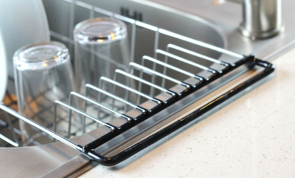 dish drainer rack over sink holder drying kitchen organizer stainless steel ebay. Black Bedroom Furniture Sets. Home Design Ideas