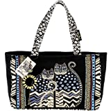 Laurel Burch Medium Tote with Zipper Top, Spotted Cats