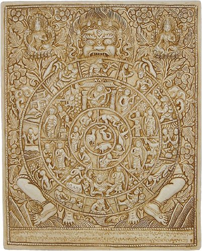 Tibetan Wheel of Life Wall Relief