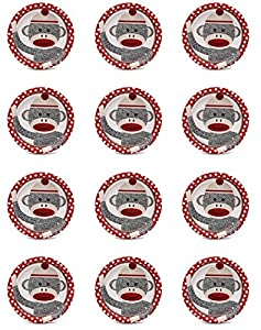 Red Sock Monkey Edible Cupcake Toppers - Set of 12