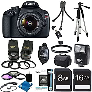 Canon EOS Rebel T5 18MP DSLR Camera Ultra 3 Lens Bundle Includes: Rebel T5 Digital Camera, EF-S 18-55mm IS II lens, 2.5X Telephoto and 0.45X Super Wide Angle high definition lens set, Flash, 59