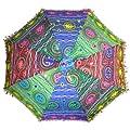 Sonnenschirm 85 cm bunte Stickereien Mehrfarbig Bunt Baumwolle Spiegel Spitzenborte Schirm Accessoire von indischerbasar.de bei Gartenmöbel von Du und Dein Garten