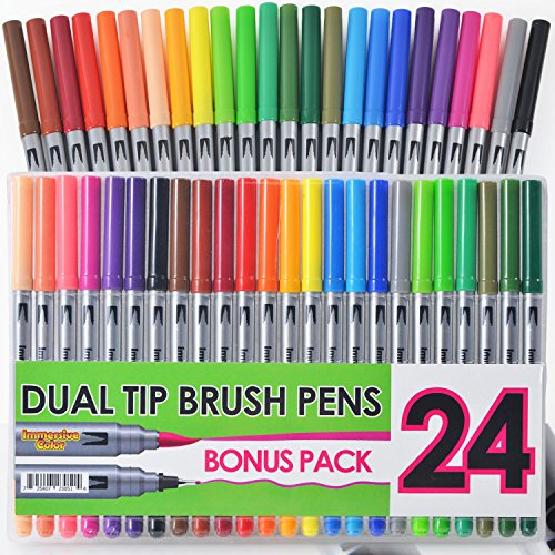 Dual Tip Brush Pens with Fineliner Tip (24 PACK, No Duplicates!) Paint Brush Markers Ink Tip