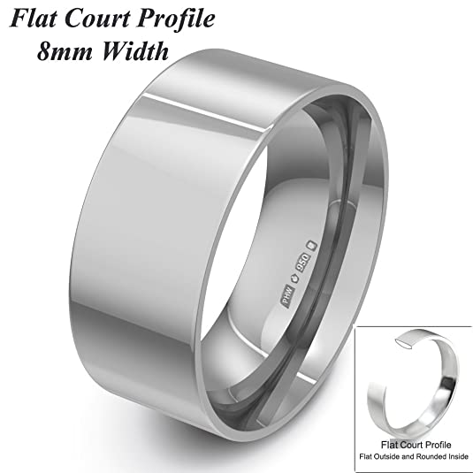 Xzara Jewellery - Palladium 950 8mm Flat Court Profile Hallmarked Ladies/Gents 7.0 Grams Wedding Ring Band