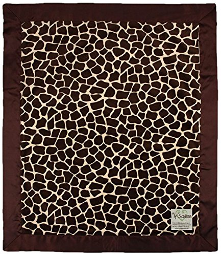 "My Blankee Giraffe Minky Baby Blanket, 14"" X 17"", Butter/Brown"