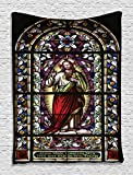 Sacred Heart of Jesus Pictures for Living Room Decoration Catholic Gifts Believe Art Christian Wall Decor Church Cathedral Window View Wall Hanging Silky Satin Tapestry, Red Black White Blue