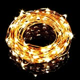 LE ® 33ft LED String Lights - 100 LEDs Waterproof Copper Wire Lights - Flexible Fairy Lights - Warm White - Indoor and Outdoor Starry String Lights for Garden - Patio - Wedding - Tree - Party - Christmas