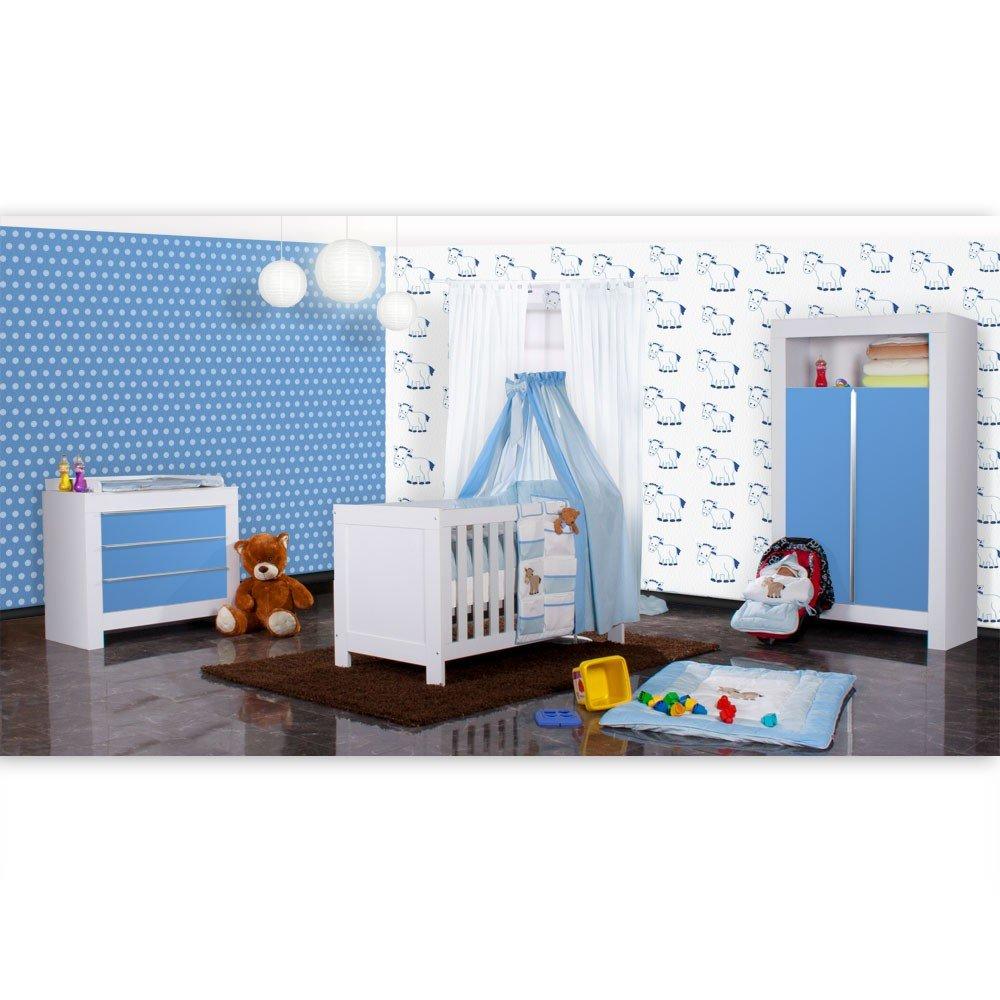 Babyzimmer Felix in weiss/blau 19 tlg. mit 2 türigem Kl + Prestij in blau