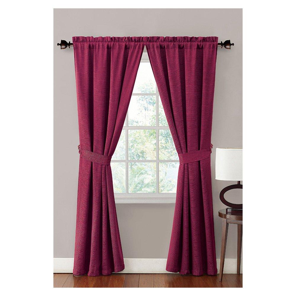 Burgundy Window Curtain/drapery Treatment Set : 2 Panels, 2 Rope Tiebacks, 76w X 84l spectral classics pl151 bg 2 boxes