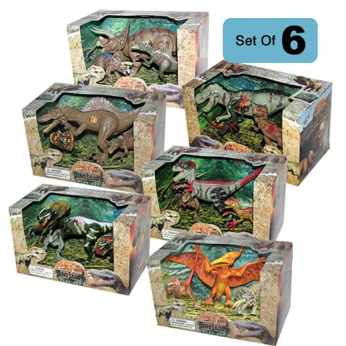Lontic Extinct World Articulated Dinosaur Toy Action Figures Play Sets - COMPLETE 6 Box Bundle
