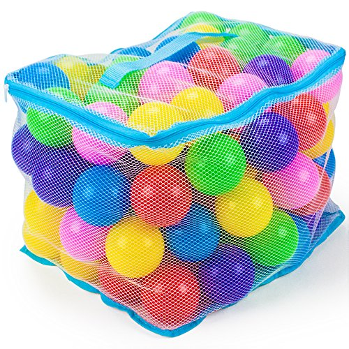 100 Jumbo 3 In Multi-Colored Soft Ball Pit Balls With Mesh Carrying Case By Imagination Generation front-25860