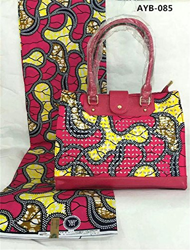 new-yellow-and-rose-red-african-nigeria-real-cotton-wax-fabric-6-yards-lot-with-gorgeous-handbag-ayb