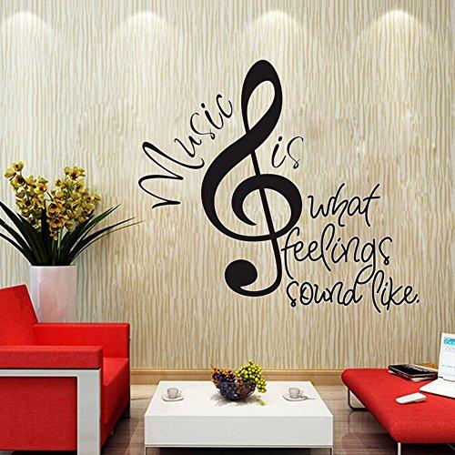 すごい壁ビッグ音楽ノートウォールステッカーを引用Music is What Feelings Sound Like