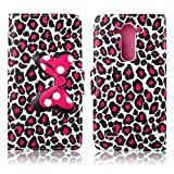 Fashion Cute Cartoon Pattern Bow Bowknot Leopard Print Wallet Flip Case Folio PU Leather Stand Cover with Card Slots for LG G3 Beat, LG G3 VIGOR, LG G3 Mini, LG G3s + Free Lovely Gift