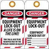 "NMC LOTAG18 Lockout Tag, ""DANGER - EQUIPMENT LOCK-OUT"" 6"" Height x 3"" Width, Unrippable Vinyl, Red/Black on White (Pack of 10)"