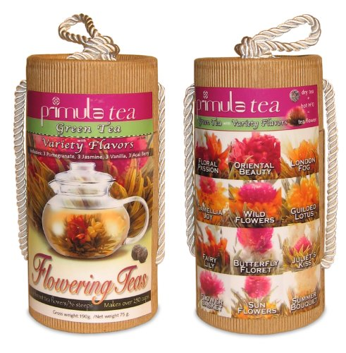 Primula TMV-2012 Flowering Green-Tea 12-Count Variety Pack with Gift Canister