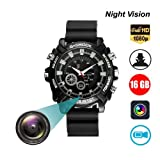 Hidden Camera Wath 16GB DVR Cameras Multifunctional Smart Wrist Waterproof Watch IR Night Vision with Cameras for Home Outdoor HD 1080P Built-in 16GB