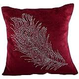 Aaiye Ghar Sajaiye Velvet Mehroon Cushion Cover (16 Inches X 16 Inches)