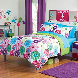 Girl fun bright green pink purple bright - Purple and pink comforter sets ...