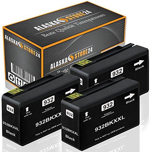Alaskaprint 3 Kompatible Druckerpatronen Tintenpatronen Ersatz für Hp 932 XL (Black) BatikSerie
