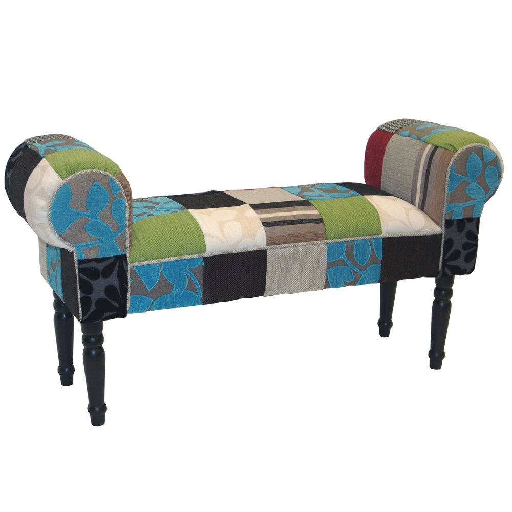PLUSH PATCHWORK   Shabby Chic Chaise Pouffe Stool / Wood Legs   Blue / Green / Red       reviews and more news